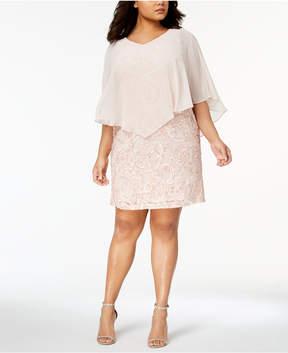 Connected Plus Size Chiffon-Overlay Soutache Dress