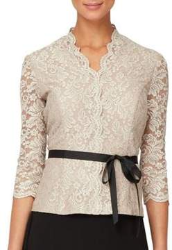 Alex Evenings Floral Lace Quarter-Sleeve Blouse