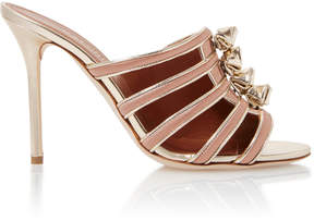 Malone Souliers Opal Leather-Trimmed Satin Sandals