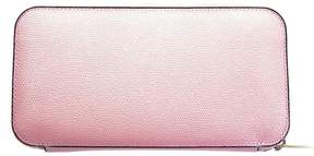 Valextra Pink Leather Zip Around Wallet