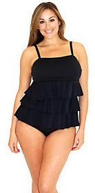 Fit 4 U D's & E's Textured 3 Tiered Bandeau Tankini Swimsuit