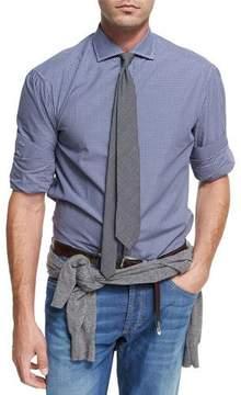 Brunello Cucinelli Check Twill Cotton Shirt, Navy