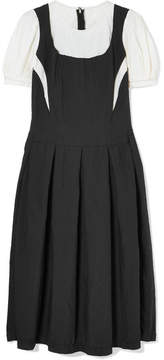 Comme des Garcons Layered Satin-twill And Cotton Midi Dress - Black