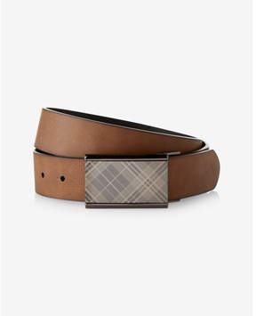 Express plaid plaque reversible leather belt