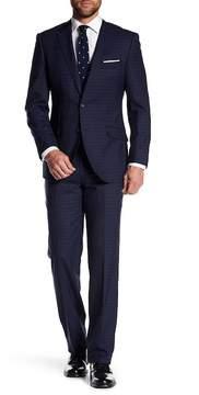 English Laundry Blue Plaid Two Button Notch Lapel Trim Fit Wool Suit