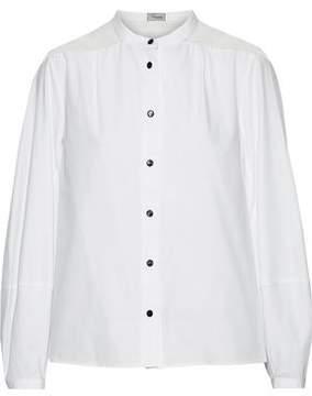 Temperley London Enigma Silk Chiffon-Paneled Cotton-Poplin Shirt