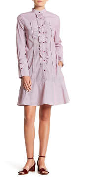 ECI Ruffle Drop Waist Poplin Shirt Dress