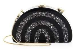 Milly Half-Moon Striped Convertible Clutch