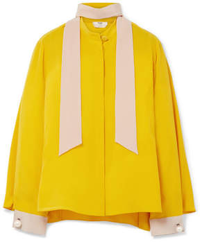 Fendi Faux Pearl-embellished Silk Crepe De Chine Blouse - Yellow