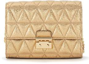 Michael Kors Ruby Golden Quilted Leather Clutch With Shoulder Strap. - ORO - STYLE