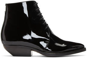 Saint Laurent Black Patent Theo Boots