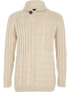 River Island Boys cream mixed cable knit sweater