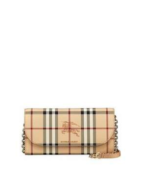 Burberry Henley Haymarket Check Wallet on Chain - CAMEL - STYLE