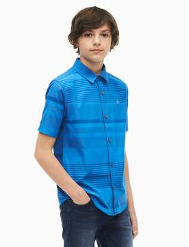 Calvin Klein boys fission stripe short sleeve shirt