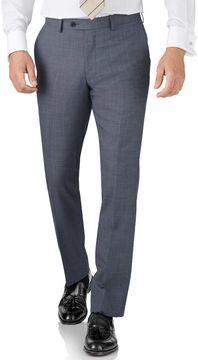 Charles Tyrwhitt Light Blue Slim Fit Sharkskin Travel Suit Wool Pants Size W38 L34