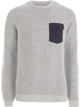 River Island Mens Light grey contrast pocket ribbed knit sweater