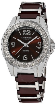 Akribos XXIV Akribos Brown Ceramic and Silver-Tone Ladies Watch