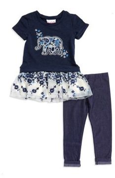 Flapdoodles Little Girl's Embroidered Elephant Tunic and Leggings Set