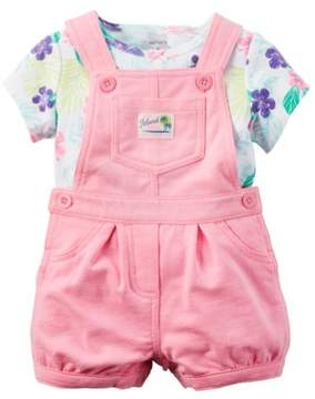 Carter's Baby Clothing Outfit Girls 2-Piece Floral Tee & Shortalls Set Pink
