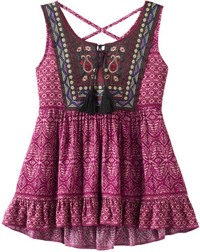 Knitworks Girls 7-16 Criss-Cross Back Embroidered Tassel Top