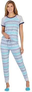 Cuddl Duds Women's 3-Piece Graphic Tee, Jogger & No Show Sock Pajama Set