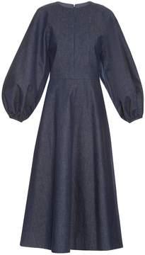 Emilia Wickstead Cora balloon-sleeved denim midi dress