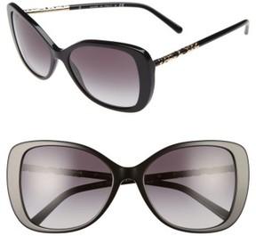Women's Burberry 57Mm Butterfly Sunglasses - Black