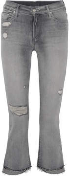 Mother The Insider Crop Distressed High-rise Flared Jeans - Gray