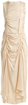 Joseph Adjustable-buckle ruched silk-blend dress