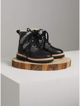 Burberry Shearling-lined Leather and Check Wool Boots