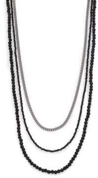 King Baby Studio Black & Silver Triple Strand Necklace