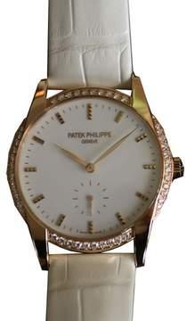 Patek Philippe Calatrava Ladies Hand Wond Leather Watch