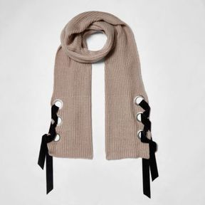 River Island Womens Beige eyelet tie-up ribbed scarf