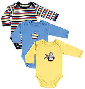 Hudson Baby Yellow & Blue Boy Penguin Bodysuit Set - Infant