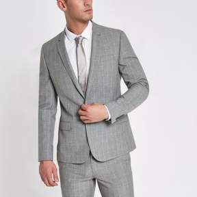 River Island Mens Grey check skinny fit suit jacket