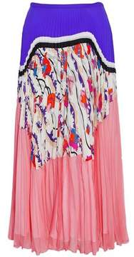 Emilio Pucci Printed Paneled Pleated Silk-Chiffon Midi Skirt