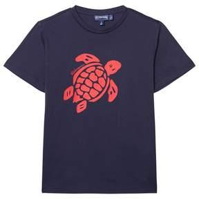 Vilebrequin Navy Tee with Big Red Turtle