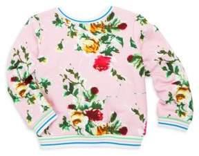 Milly Minis Girl's Rose-Print Sweatshirt