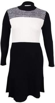 Calvin Klein Women's Plus Size Colorblocked Sweater Dress (1X, Black)