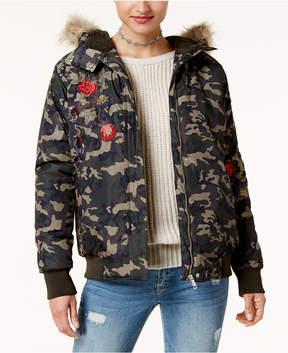 American Rag Juniors' Faux-Fur-Trim Camo Jacket, Created for Macy's