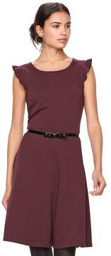 Elle Women's ElleTM Ribbed Ruffle Fit & Flare Dress
