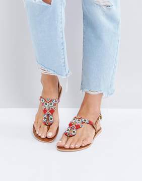 Pieces Leather Embellished Flat Sandals