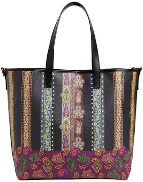Rainbow Paisley Leather Tote Bag