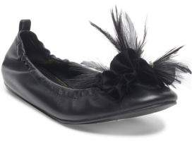 Lanvin Beaded Feather Accented Ballet Flats