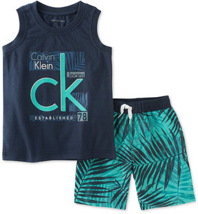 Calvin Klein 2-Pc. Graphic-Print Tank & Shorts Set, Baby Boys (0-24 months)