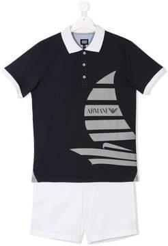 Emporio Armani Kids TEEN sailboat print polo shirt