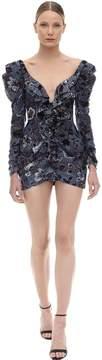 Crystal Embellished Velvet Dress