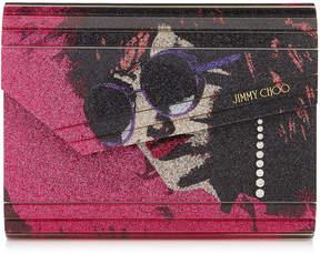 Jimmy Choo CANDY Cerise Mix Andie Printed Fine Glitter Acrylic Clutch Bag