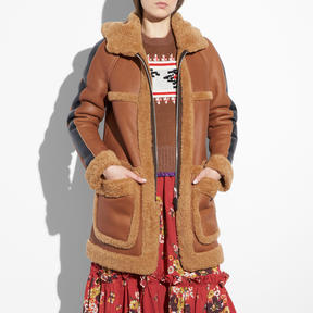 COACH REVERSIBLE SHEARLING PARKA - f56213 - TOFFEE