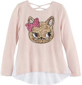 Miss Chievous Girls 7-16 Sequin Tulip Hem Hatchi Top